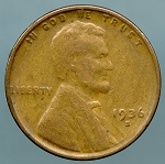 1936-S Lincoln Cent Average Circulated