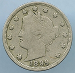 1899 Liberty Nickel Almost Fine