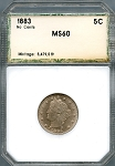 1883 No Cents Liberty Nickel PCI MS-60