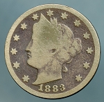1883 Liberty Nickel with cents dark