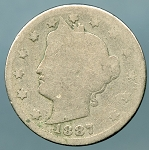 1887 Liberty Nickel About Good