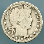 1892-O Barber Quarter Good