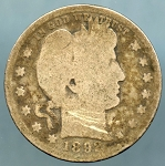 1892 S Barber Quarter About Good