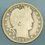 1893-O Barber Quarter Good