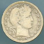 1908 O Barber Quarter Very Good