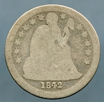 1842 O Liberty Seated Dime About Good