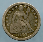 1850 Liberty Seated Dime Very Good
