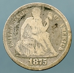 1875 Seated Dime Good