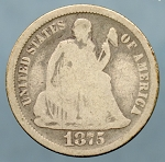 1875 Liberty Seated Dime Good