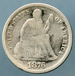 1876 Liberty Seated Dime Very Good