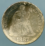 1887 Seated Dime About Good