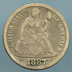 1887  Seated Dime Very Good