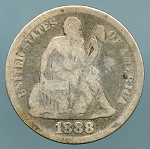 1888 Seated Dime About Good