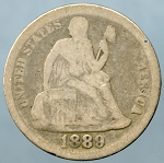 1889 Liberty Seated Dime About Good