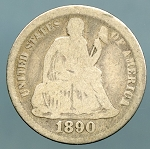 1890 Seated Dime Good