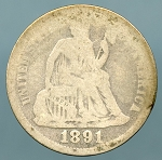 1891 Seated Dime Cull
