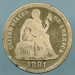 1891 Seated Dime Good