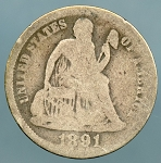 1891 O  Seated Dime About Good