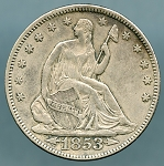 1853 Seated Half Arrows and Rays XF-40
