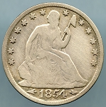1854 O Liberty Seated Half Dollar Good - Cleaned