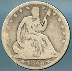 1855 O Liberty Seated Half Dollar Good / Very Good