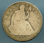 1858 O Seated Half Dollar AG minus