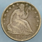 1858 O Seated Half Dollar Very Good