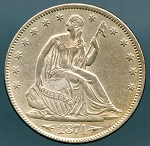 1874 Liberty Seated Half Dollar AU-50 Cleaned.