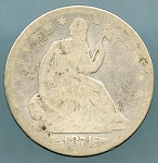 1874 Liberty Seated Half Dollar About Good/Good