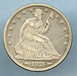 1874 Liberty Seated Half Dollar VF-20