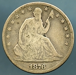 1876 Liberty Seated Half Dollar Good / VG