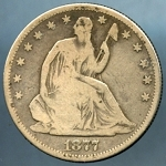 1877 S Liberty Seated Half Dollar Good
