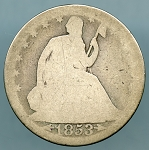 1853 A & R Liberty Seated Half Dollar About Good