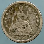 1853 Seated Half Dime About Good