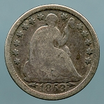 1853 Seated Half Dime Good