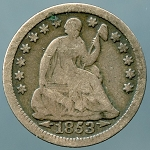 1853 Seated Half Dime Good /  Very Good
