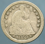 1853 O Seated Half Dime Good