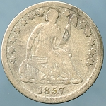 1857 Seated Half Dime Very Good