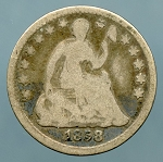 1858 Seated Half Dime Good