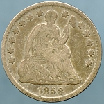 1858 Seated Half Dime Very Good