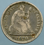 1870 Seated Half Dime Very Good