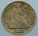1871 Liberty Seated Half Dime Good +