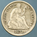1872 Seated Half Dime Almost Fine