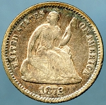 1872 Seated Half Dime Very Good