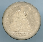 1853 Seated Quarter Arrows and Rays  Good  light cut on obverse