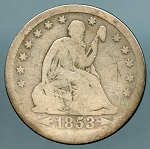 1853 A & R Seated Quarter Good