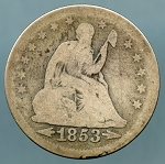 1853 Seated Quarter Good minus