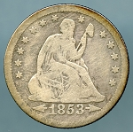 1853 Liberty Seated Quarter Arrows and Rays VG