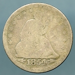 1854 Seated Quarter About Good