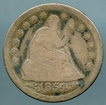 1854 Seated Quarter Good